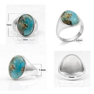 Image 2 - Prawdziwe 925 srebro pierścionek dla człowieka z niebieski kamień naturalny Vintage eleganckie pierścionki mężczyzna kobiet Unisex turecki ręcznie robiona biżuteria