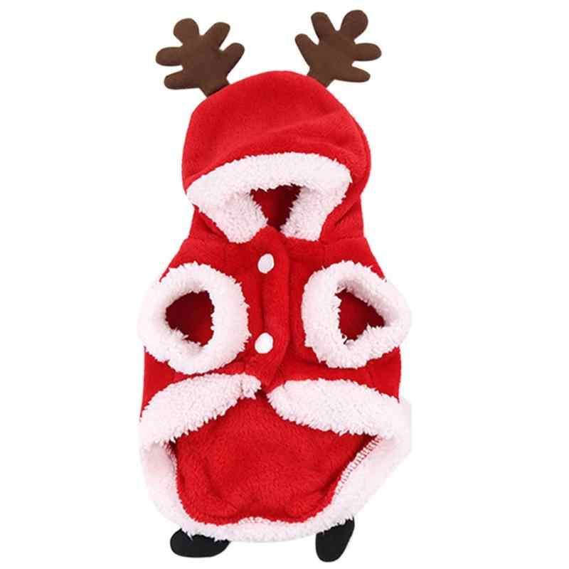 Pet Dog Cat Red Hooded Cloth Cute Velvet Santa Elk Clothes Christmas Halloween Costume Kitten Puppy Dressing Accessories