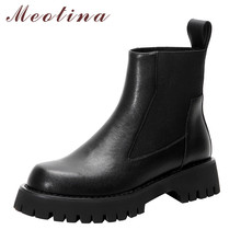Meotina Chelsea Boots Women Shoes Real Leather Platform Mid Heel Ankle Boots Round Toe Thick Heels Lady Short Boots Black 40 brand winter boots women shoes high heels soft ankle boots female leather shoes woman new round toe platform shoes thick heel de