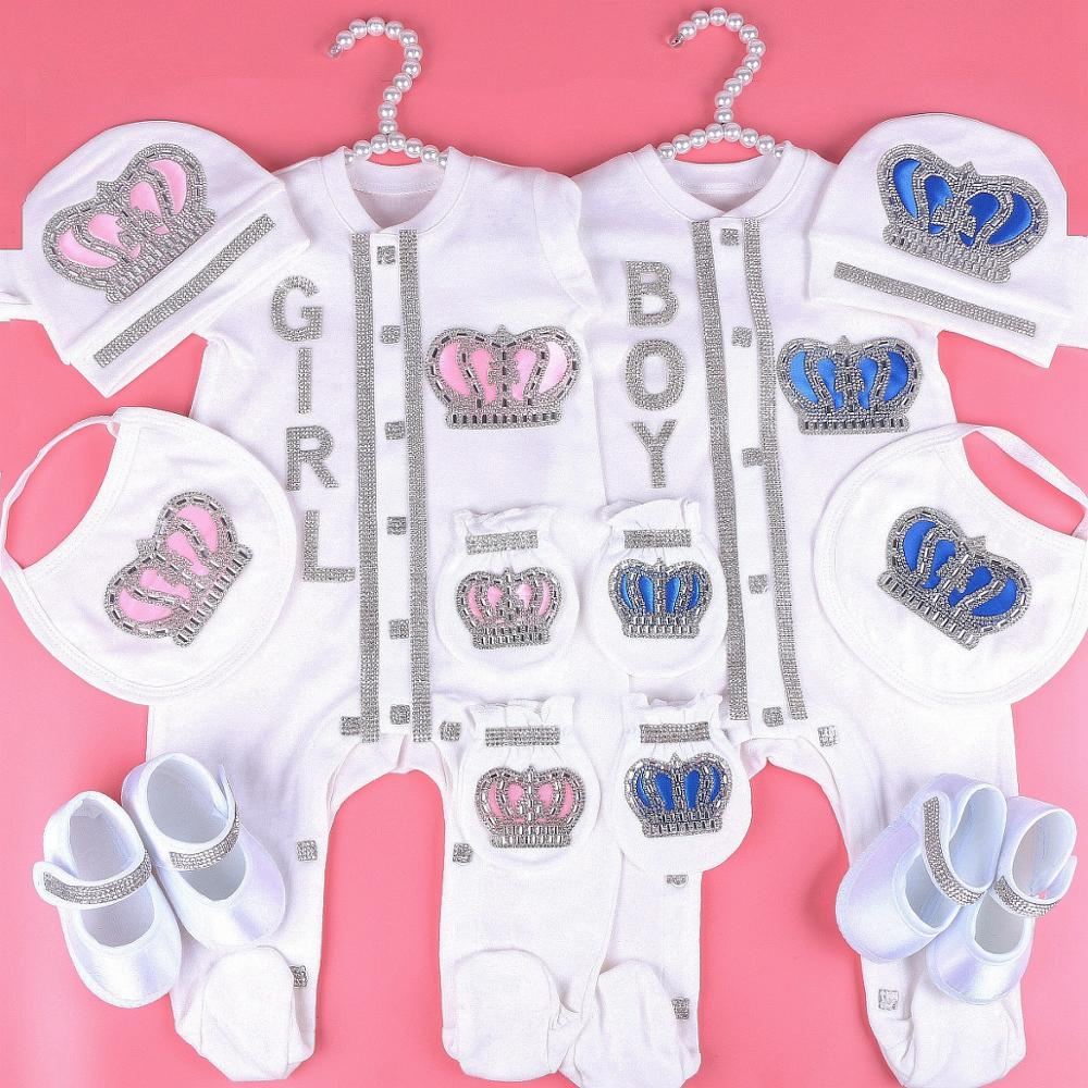0-3 Month Newbron Baby Girl Clothes Set White Color Cotton Bodysuit With Crown Rhinestone Crystal Baby Bodysuit Baby Cloth 2020