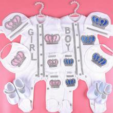 0-3 miesiące zestaw ubranek dla dziewczynki Newbron biały kolor bawełniane ubranko z korona z kryształkami kryształowe body niemowlęce dziecięce 2020 tanie tanio TOKPALON Dla dzieci 0-3 miesięcy T-001 Footies Pasuje większy niż zwykle proszę sprawdzić ten sklep jest dobór informacji