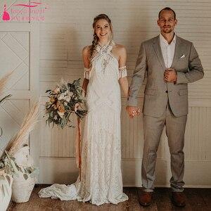 Image 3 - Marzycielski unikalne suknie ślubne Gypsy Hippie uderzające koronkowe suknie ślubne czeski Vestido De Noivas elegancka, z frędzlami ZW229