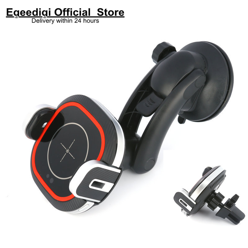 Egeedigi 15W Fast Qi Wireless Charger Infrared Gravity Car Holder For Phone in Car Air Vent Clip Mount Phone Holder GPS Stand