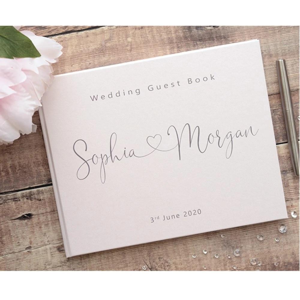 personalised wedding book Wedding journal Rose gold wedding book Personalised guest book White guest book Wedding guest book