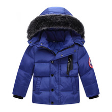 цена на Child winter boy long thickened duvet girl windproof warm down coat baby winter out dress baby girl winter jacket  duck down