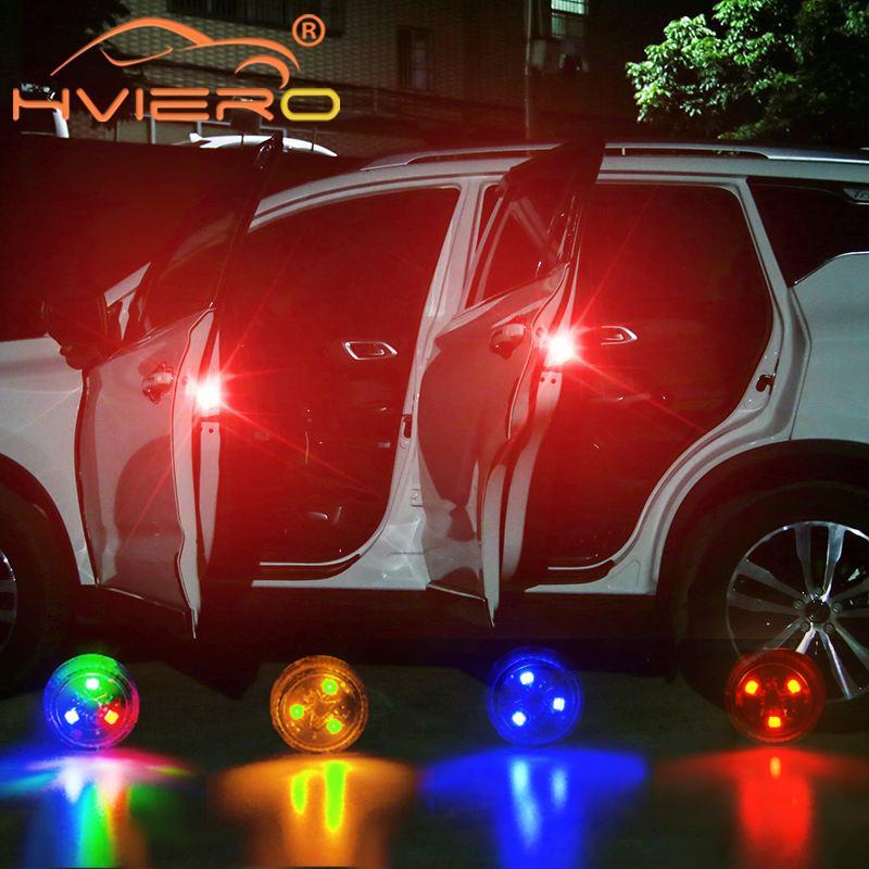 2X Car LED Opening Door Safety Warning Anti-collision Lights Flash Light Red Kit Wireless Alarm Lamp Anti-collid Signal Light