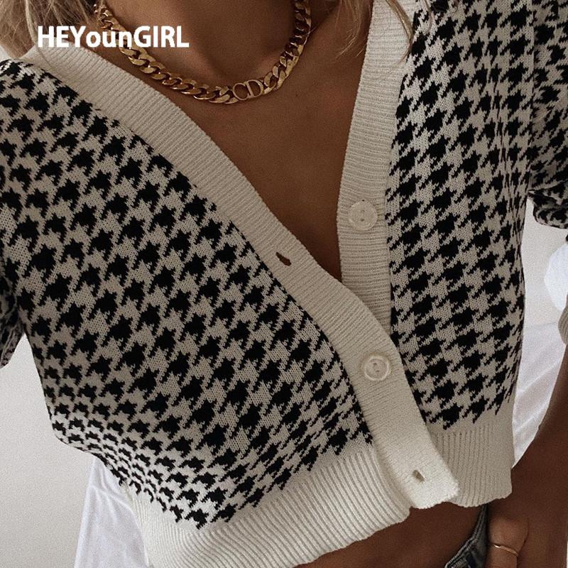 HEYounGIRL Houndstooth Print Vintage Crop Top Cardigan Women V Neck Elegant Chic Sweater Autumn Fashion Jumper Ladies Streetwear