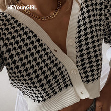 HEYounGIRL Houndstooth Print Vintage Crop Top Cardigan Women V Neck Elegant Chic Sweater Autumn Fashion Jumper Ladies Streetwear