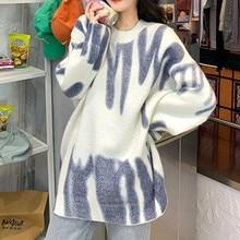 Suéter de punto con estampado para Mujer, jerséis de rayas verdes de gran tamaño, jerséis largos holgados de invierno, ropa de calle, suéter para Mujer