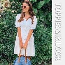 Toppies Women summer linen dress white cotton linen v-neck slim dress for women single