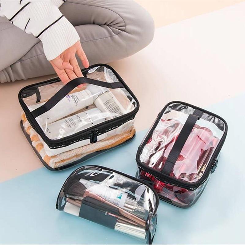 Waterproof Transparent PVC Cosmetic Bag  Women Make Up Case Travel Zipper Makeup Beauty Wash Organizer Toiletry Storage Kit