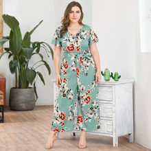Women's Plus Size V-Neck Short-Sleeved Bohemian Print Wide-Legged Jumpsuit Female Bodycon Playsuit Long Trousers Beach clothes(China)