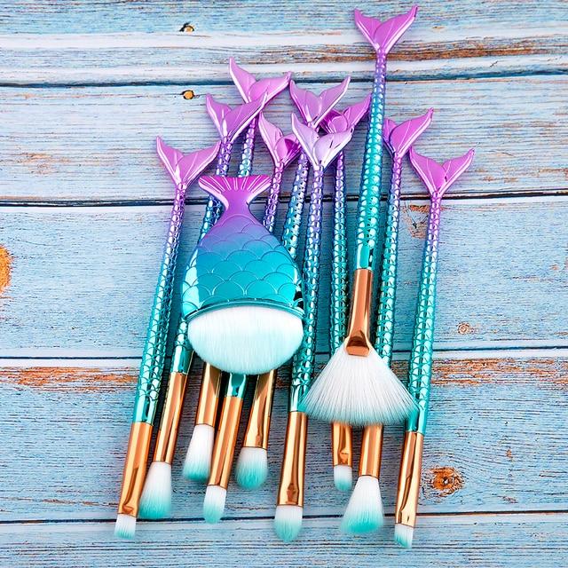 RANCAI 10/11pcs Makeup Brushes Kit maquiagem maquillaje New Mermaid Foundation Eyebrow Eyeliner Cosmetic makeup Brushes 6