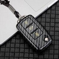 Carbon Fiber Car Key Remote Fall Abdeckung Halter Fall Für Volkswagen VW Golf 7 passat b6 mk7 Sitz Ibiza Leon altea Aztec Für Skoda-in Schlüsseletui für Auto aus Kraftfahrzeuge und Motorräder bei