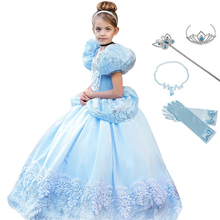 цена на Halloween Princess Cinderella Dress Girls Costume Children Deluxe Cosplay Gown Kids Fantacy Chirstmas Party Role-Play Dresses