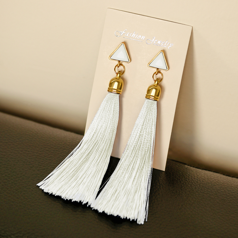 POXAM Vintage Tassel Dangle Drop Earrings For Women Bohemian Silk Fabric Long Fringe Earings 2019 Female Brincos Fashion Jewelry
