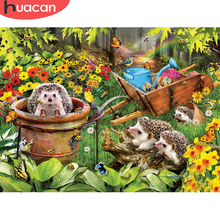 HUACAN 5d Diamond Painting Full Drill Square/round Hedgehog Mosaic Animal Home Decoration Wall Stickers