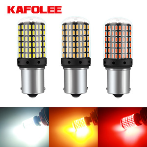 KAFOLE No Hyper Flash BA15S P21W BAU15S PY21W Front Rear Turn Signal Bulb Canbus Error Free Led Amber Yellow 3014 Chipset 144SMD