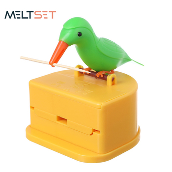Creative Toothpick Box Cute Bird peck Automatic Toothpick Holder Storage Box Press-type Toothpick Dispenser Container Home Decor 24 colors european toothpick holder automatic hand carved white toothpick box toothpick holder ktv hotel home