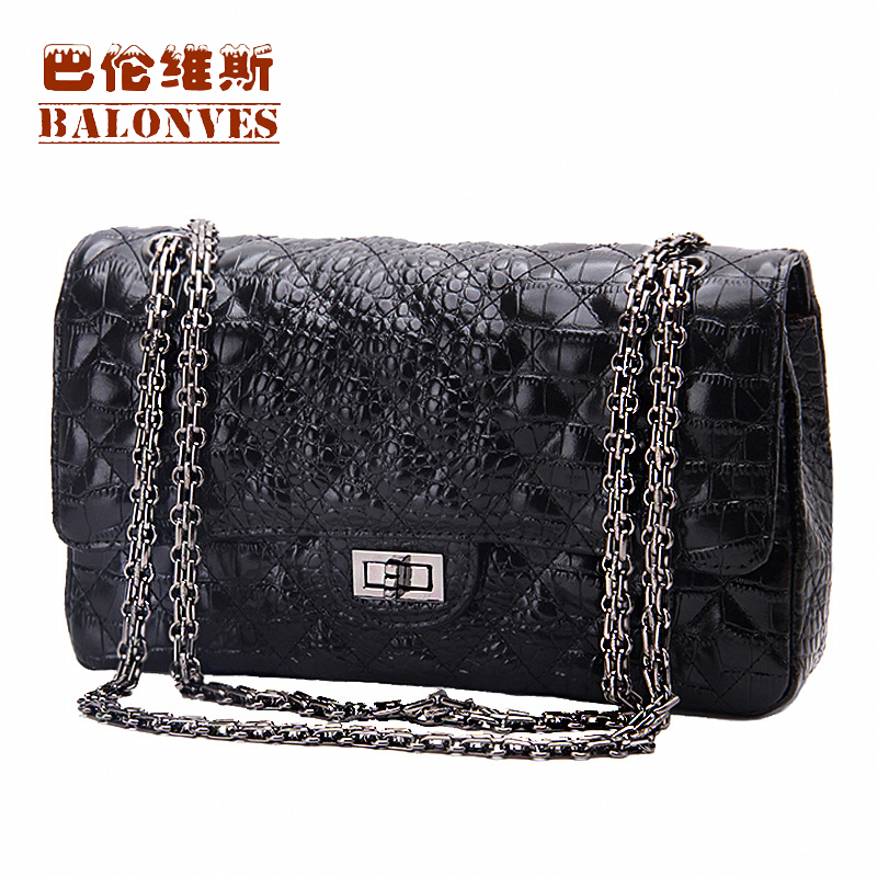 Image 4 - Famous Brand shoulder women handbags genuine leather bags for women 2019 luxury designer crossbody female ladies big chain woman-in Shoulder Bags from Luggage & Bags