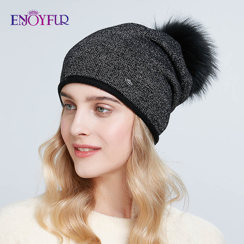 ENJOYFUR Fashion Winter Hats For Women Knitted Real Fur Pompom Hat Thick Warm Wool Beanies