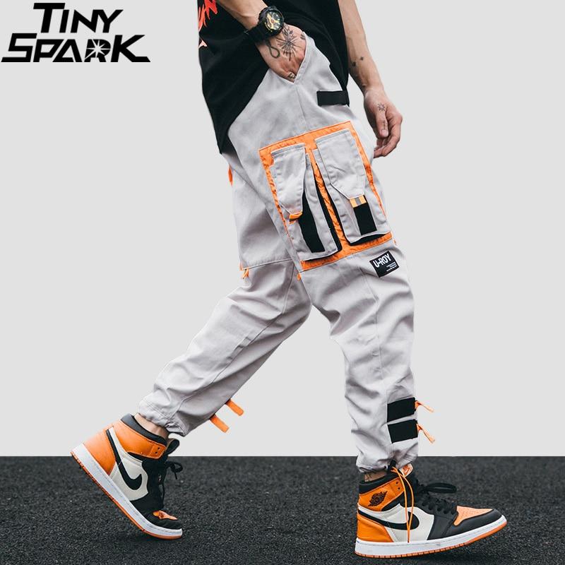 Hip Hip Cargo Pants Streetwear Men Harajuku Harem Pants Joggers 2019 Casual Tatical Pants Ribbon Multi Pockets Track Trousers