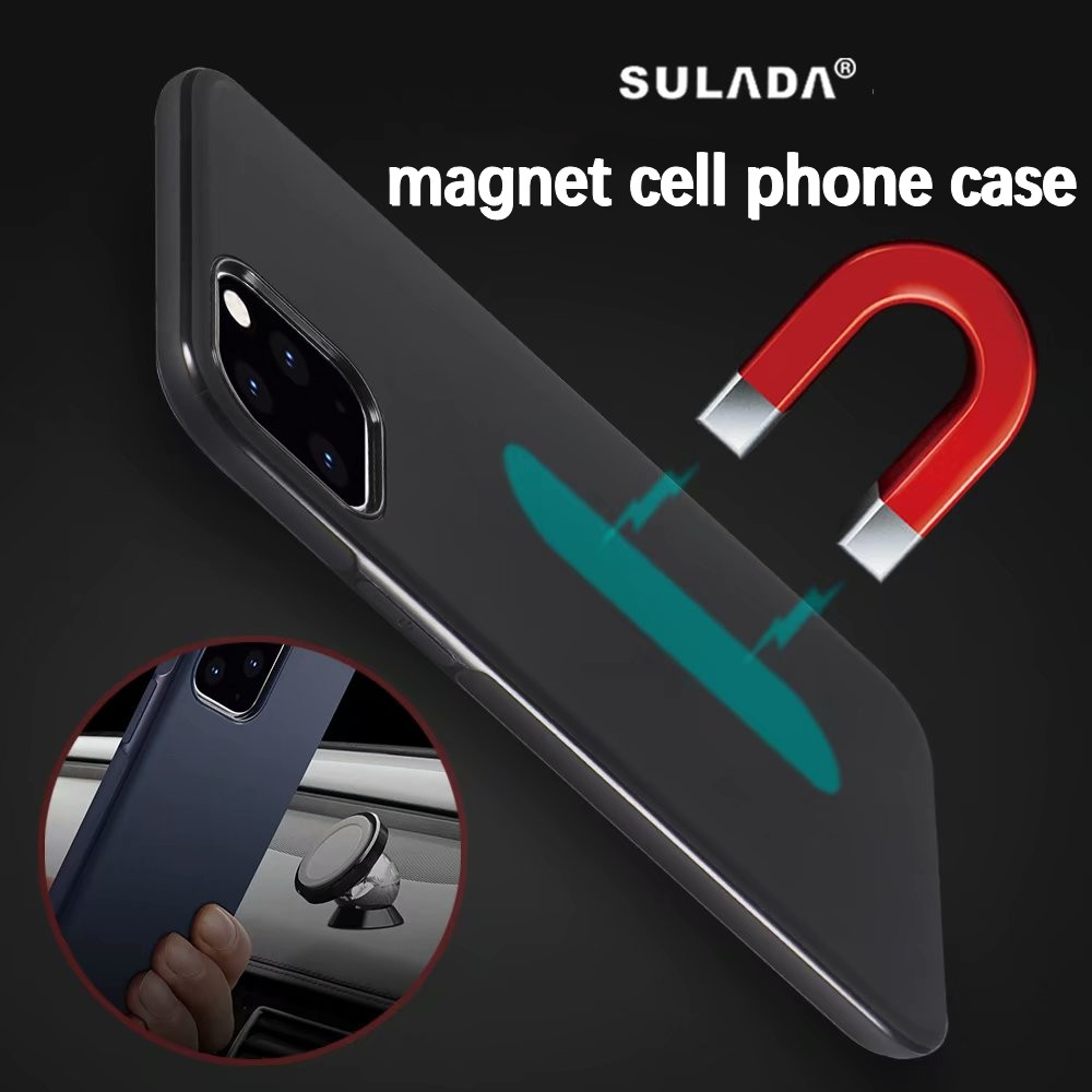 Magnetic Car Holder Case for iPhone 11 pro max Soft TPU Silicone Magnet Case for iPhone 11pro max Bulit-in Metal Plate
