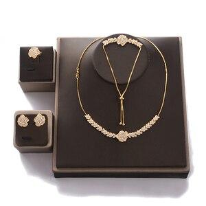 Image 3 - Conjunto de joyería con diseño de flor para mujer, collar, pendientes, pulsera y anillo, fiesta, circonio de boda, CN1026