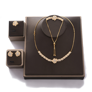 Image 3 - Jewelry Set HADIYANA Women Party Wedding Zircon Flower Design Necklace Earrings Bracelet And Ring Set CN1026 Conjunto de joyas