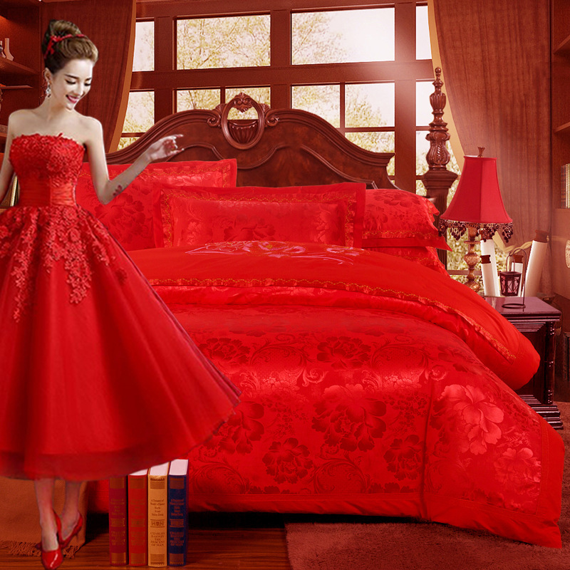 Wedding Four-piece Set Satin Cotton Marriage Four-piece Set Textile Gift Pure Cotton Bright Red Four-piece Bedding Set