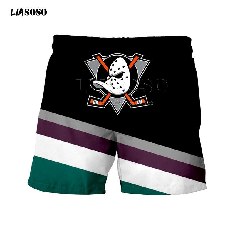 LIASOSO New Shorts Men Women Fashion Sweatshirt 3D Print Anaheim Duck Shorts Boy Hip Hop Top Round Neck Pullover