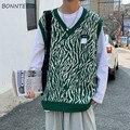 Männer Pullover Weste Zebra Striped Lose Gestrickte Pullover Männlichen Alle-spiel Ins Chic Fashion Casual V-ausschnitt Koreanische Stil Streetwear weichen