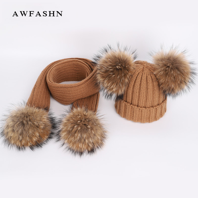 New Cute Children's Raccoon Fur Pom Poms Knit Beanie Hat Scarf  Boy / Girl Winter Thicken Hedging Cap Scarves Soft Ski Baby Kids