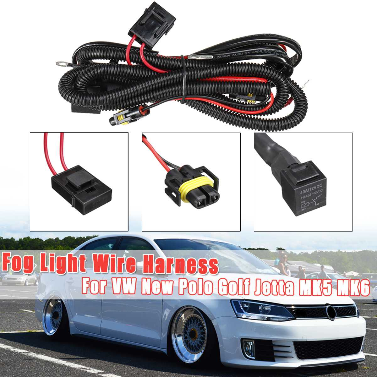 1piece 40V 12A Fog Light Lamp Wires Harness Cable With Fuse Universal For VW New Polo Golf Jetta MK5 MK6 Without Fog Light