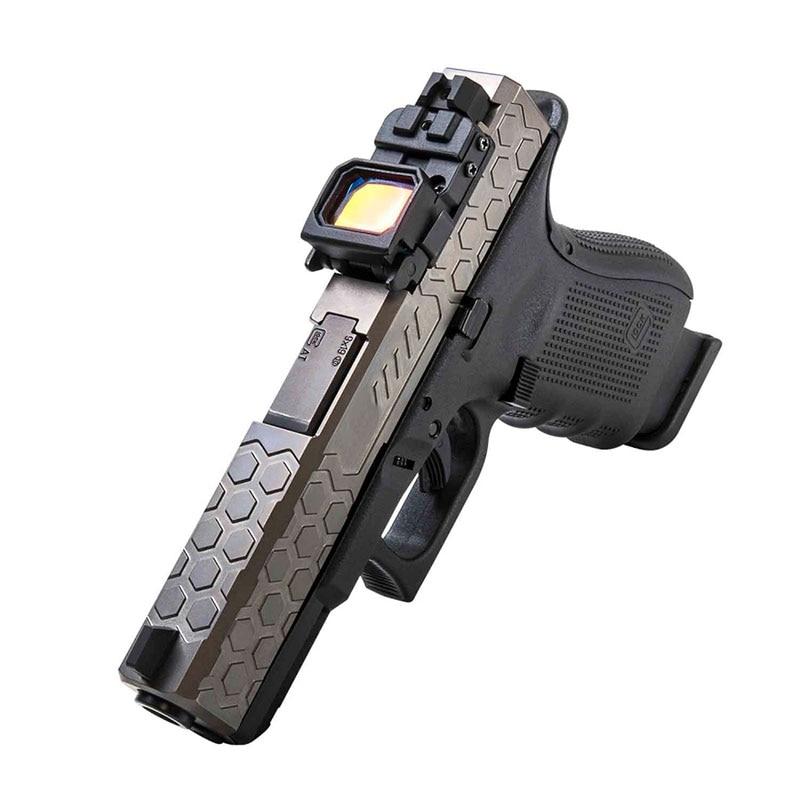 Flap katlanabilir taktik Mini 22*16mm kırmızı nokta görüşü VISM tabanca G17 G18 montaj el tabancası spor IPCS düşük profilli Wargame Airsoft