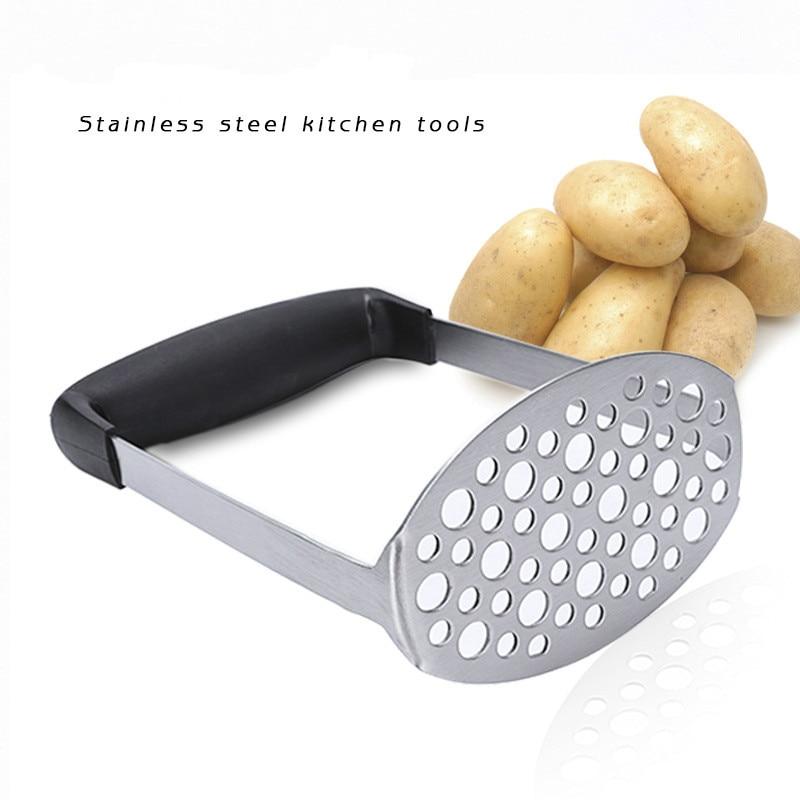 """Handheld Manual Stainless Steel Potato Vegetable Masher Kitchen Gadget Tool 10/"""""""