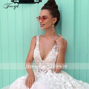 Image 3 - Traugel v 목 라인 레이스 웨딩 드레스 Applique 구슬 탱크 슬리브 Backless 신부 드레스 법원 기차 신부 가운 플러스 크기
