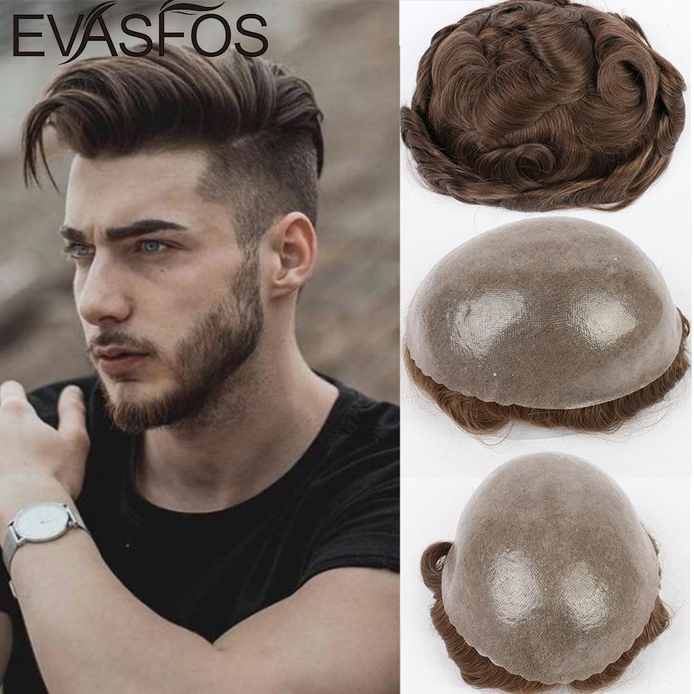 EVASFOS hommes perruques indien cheveux humains plein PU hommes toupet capillaire prothèse hommes système de remplacement de cheveux pièces de cheveux perruque pour hommes
