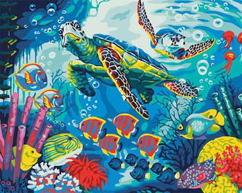 Painting By Numbers Sea Ocean Bright Colours turtle Fish Coral Reef