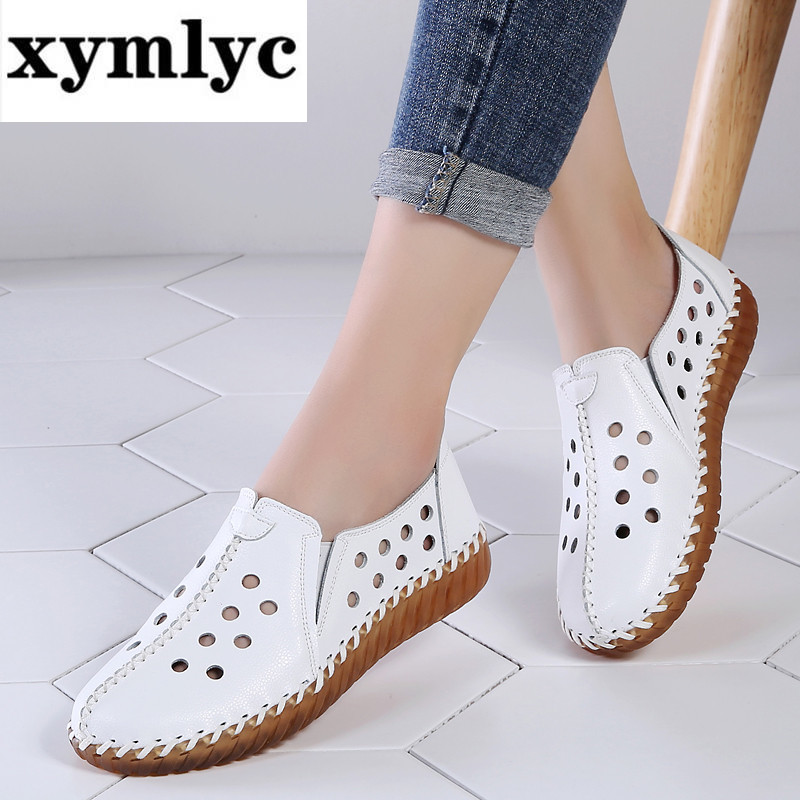 2020 Autumn Women Flats Shoes Handmade Genuine Leather Slip-on Shoes Woman Moccasins Ladies Oxfords Ballerina Flats Shoes