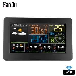 FanJu FJW4 Digital Alarm Wall Clock Weather Station wifi Indoor Outdoor Temperature Humidity Pressure Wind Weather Forecast LCD(China)