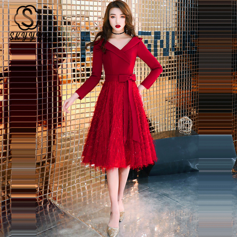 Skyyue Evening Dress V-Neck Long Sleeve  Evening Gown Burgundy A-Line Robe De Soiree K317 Plus Size Zipper Dress Woman Party