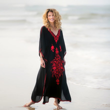 Black Cotton Beach Dress Red Embroidery Cover Up Sarong Beachwear 2019 Robe De Plage Swimsuit Tunic