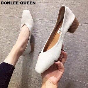 Image 3 - DONLEE ملكة سميكة كعب أحذية النساء مضخات مربع اصبع القدم أحذية عمل الانزلاق على أحذية عالية الكعب الخريف الأحذية الضحلة zapatos دي موهير
