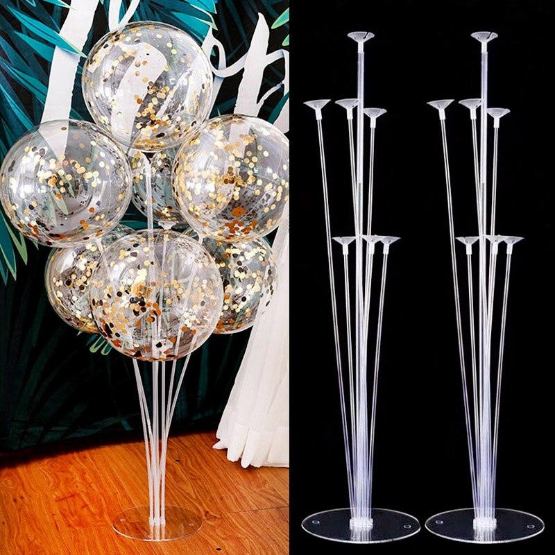 Набор воздушных шаров с 7 трубками, стойка для детской колонки, конфетти, украшения для праздника, дня рождения, свадьбы, Рождества, 1 комплект-0