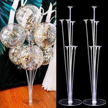 Набор воздушных шаров с 7 трубками, стойка для детской колонки, конфетти, украшения для праздника, дня рождения, свадьбы, Рождества, 1 комплект