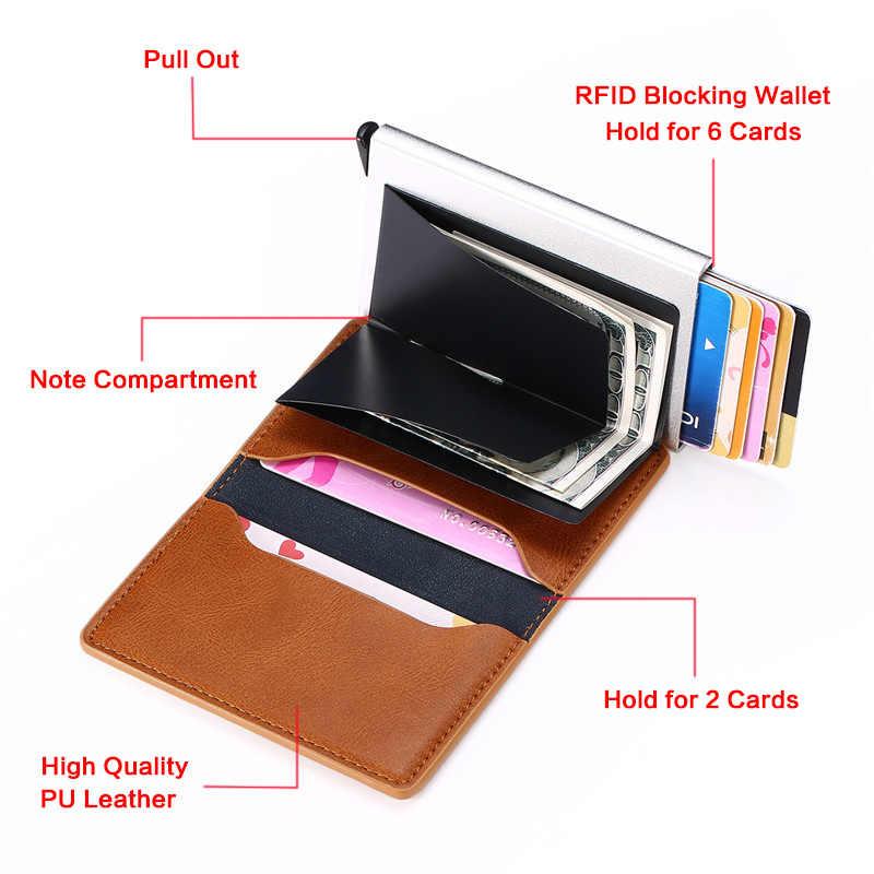 Bisi Goro Pria dan Wanita Smart Wallet Mini Dompet Keamanan RFID Pemegang Pop-Up Kartu Case Aluminium Kotak pemegang Kartu Kredit