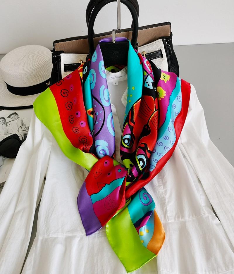 "Women's 100% Pure Silk 12mm Paint Printed Big Square Scarf Wrap Shawl Kerchief 88x88cm 34.5""x34.5"" WJ012-5"