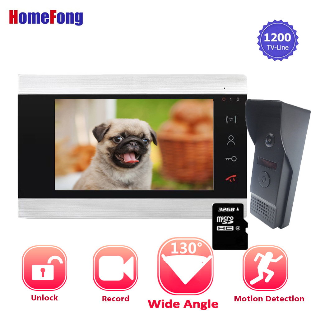 【Wide Angle】Homefong Wired Video Door Phone System Visual Intercom Door 7 Inch Monitor 130 Degree Doorbell With Camera Motion