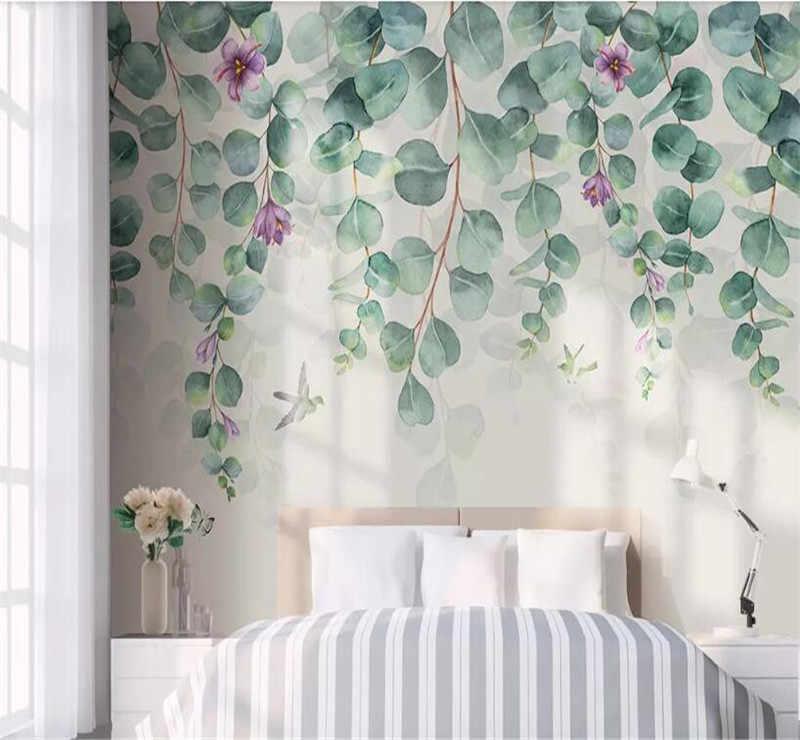 Niestandardowe tapety ścienne jest teraz prosty i stylowy kwiaty akwarela ręcznie malowane kwiaty tło naścienne
